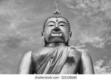 Black and White buddha statue of Thailand