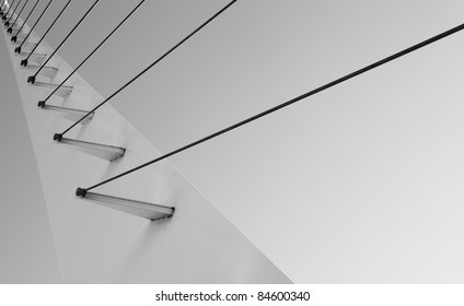 Black and white Cable support portion of pedestrian bridge