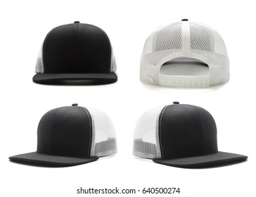 Black and white cap isolated on white background. Multiple angles included.