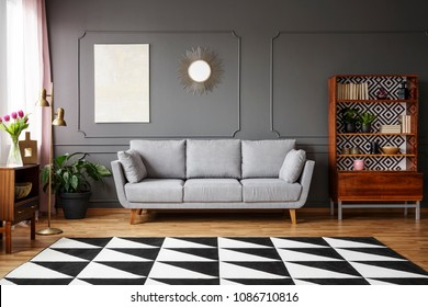 Black and white carpet with geometric pattern placed on the floor in dark living room interior with grey couch, vintage cupboard with books and wainscoting on the wall