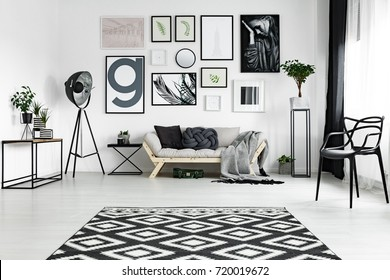 Black and white carpet lying on the floor in bright room with many posters