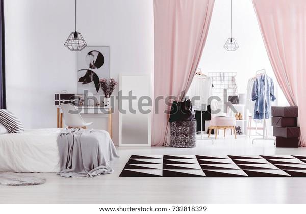 Black White Carpet Womans Bedroom Interior Stock Photo Edit Now