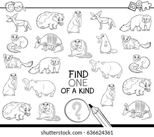 Black and White Cartoon Illustration of Find One of a Kind Educational Activity for Children with Wild Animal Characters Coloring Page