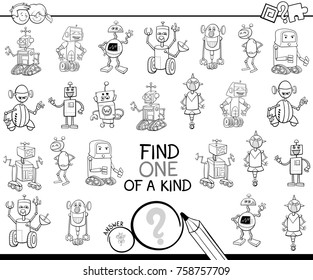 Black and White Cartoon Illustration of Find One of a Kind Educational Activity Game for Children with Robots Machines Characters Coloring Book