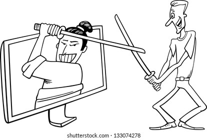 Black and White Cartoon Illustration of Funny Man Fighting with Samurai or Watching Interactive Digital Television or Playing Video Game
