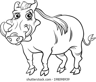 Black and White Cartoon Illustration of Funny Warthog Animal for Coloring Book