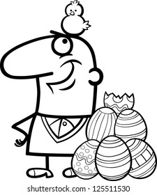 Black and White Cartoon Illustration of Happy Man with Easter Chicken or Chick Hatched from Colored Egg