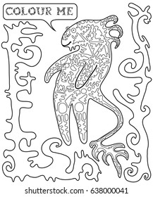Black and white, cartoon monster, coloring book for children and adolescents and adults
