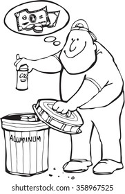 Black and white cartoon of young man placing a soda can in a recycling bin