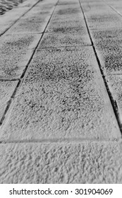 Black and white of cement ground