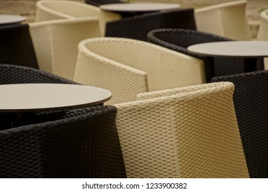 Black and white chairs in a coffee shop cafE on the waterfront of Trogir, Croatia