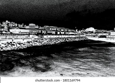 Black and white charcoal painting of the Redondo Beach boardwalk in Southern California.