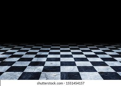 Black And White Checker floor Grunge Room. Checker floor empty space