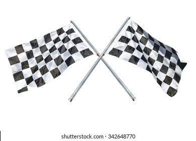 Black and white checkered flag photo image, isolated on white, This has clipping path.