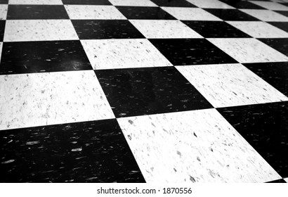 Black and white checkered floor.