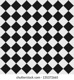 Black and white checkered floor tiles with texture. This tiles seamlessly as a pattern, top view