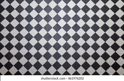 Black and white checkered floor tiles