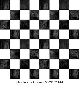 Black And White Checkered Plaid Seamless Texture Watercolor Hand Drawn Pattern Background Watercolour Chess