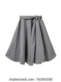 Black and white checkered skirt with long ribbon belt isolated on white