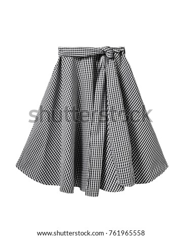 8f033c788e Black and white checkered skirt with long ribbon belt isolated on white
