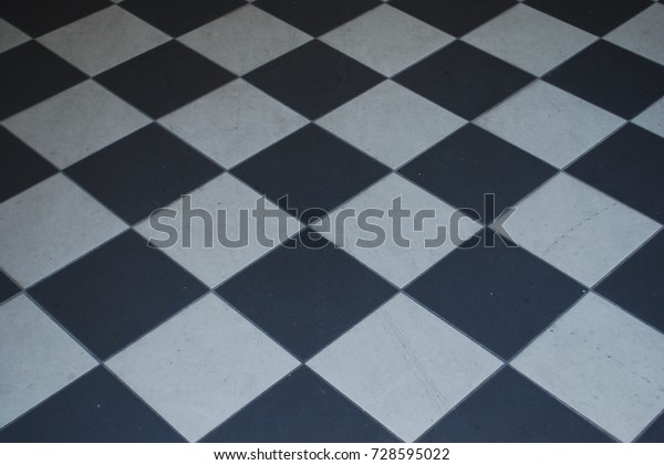Black White Checkered Tile Floor Background Stock Photo