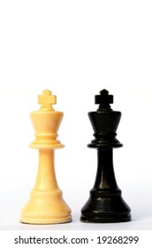 Black and white chess kings isolated on white