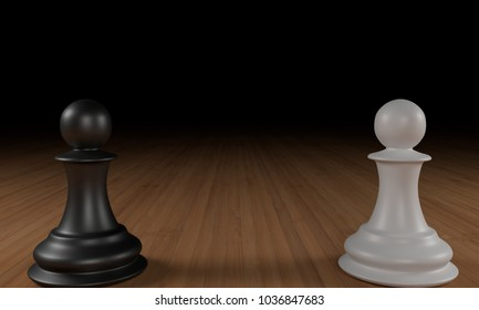 Black and white chess pawns on wood, with black in the background. 3D Rendering