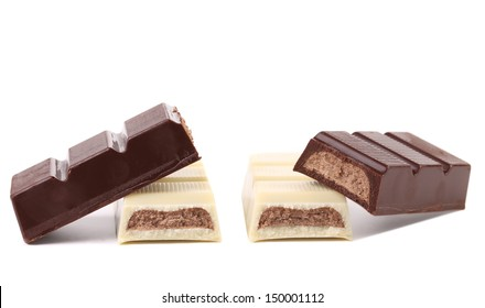 Black and white chocolate bars with filling