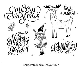 black and white christmas collection, set of lettering inscription - Happy New Year, and holidays animals, raster version illustration