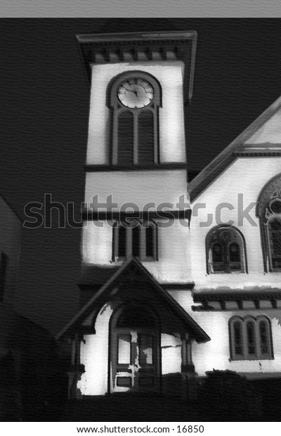 black and white church shot at night without flash time exposer