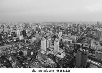 Black and White, City aerial view Bangkok residence downtown, Thailand