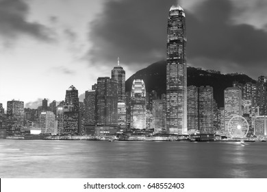 Black and White, City downtown business area sea front, Hong Kong cityscape