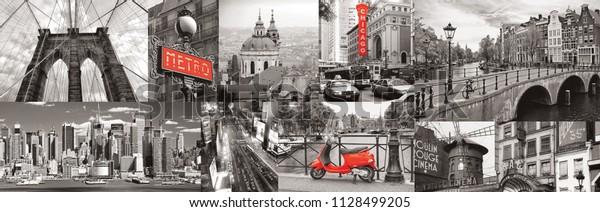 Черно-белый город с красными элементами. Коллаж. Париж, Лондон, Нью-Йорк. Панорама для стеклянных панелей. Высокое качество изображения для скинали. Панорамный вид. Фото в стиле ретро. Панорама города.