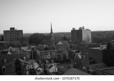 Black and white cityscape shot from a high vantage point Lancaster, PA