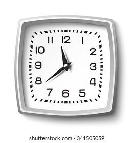 Black and white classic station wall clock isolated on white
