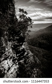 Black and White cliff face at Wentworth Falls, Blue Mountains, NSW, Australia