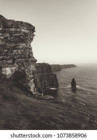 black and white cliffs of moher in county clare Ireland. beautiful scenic Irish nature countryside landscape along the wild Atlantic way coastal hike trails.