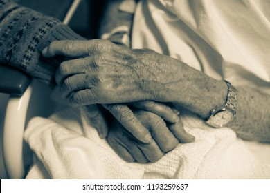 Black and white close up of elderly couple holding hands in hospital