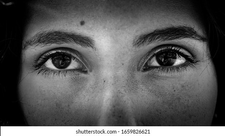 Black and white close up image of a gorgeous young latin Brazilian woman's big brown eyes.