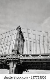 Black and white close up picture of Manhattan Bridge, New York City, USA.