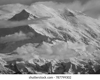 A black and white close up of pioneer ridge on Denali (Mt Mckinley).