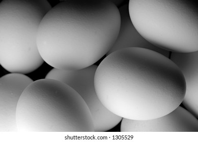 Black and White Close-up of Eggs