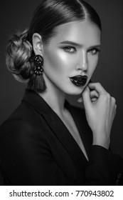 Black and white closeup portrait