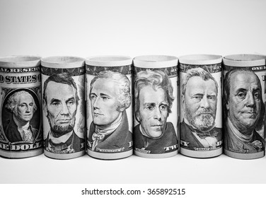 Black and white color of American dollars banknotes roll