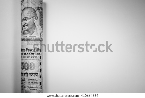 Black and white color of Indian rupee currency,money roll with copy space