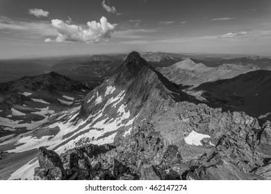 Black and White Colorado Rocky Mountain Summit.  View from the summit of Mt. Wilson looking towards El Diente Peak, near Telluride.