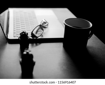 Black and white concept of Light and shadow from window to working desk