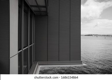 Black and white conceptual art photo with elements of architecture and ocean view. Santander, the capital of Cantabria.Northern spain