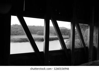 Black and White Covered Bridge