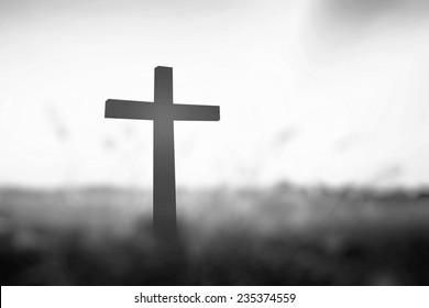 Black and white cross symbol for christian, resurrection and Jesus Christ.